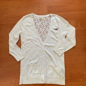 white lace holister cardigan size small
